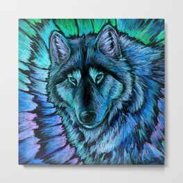 Blue Wolf Aurora Colorful Fantasy Metal Print