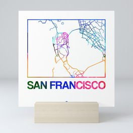 San Francisco Watercolor Street Map Mini Art Print