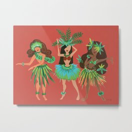 Luau Girls on Coral Metal Print