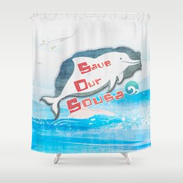 LOVE TAIWAN PINK DOLPHINS / SAVE TAIWAN PINK DOLPHINS Shower Curtain