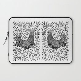 Le Coq – Watercolor Rooster with Black Leaves Laptop Sleeve