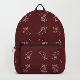 Repeating Okay Hand Gesture - Maroon Backpack