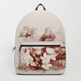 Sepia toned tropical flowers and butterflies Backpack