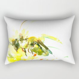 Honey Bee and Yellow Abstrac floral decor Rectangular Pillow