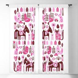 Raspberry And Cream Scandinavian Folk Art Forest Friends Blackout Curtain