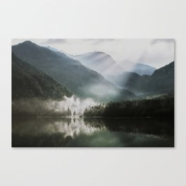 Dreamlike Morning at the Lake - Nature Forest Mountain Photography Canvas Print