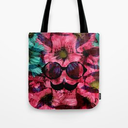 vintage old skull portrait with red and blue flower pattern abstract background Tote Bag