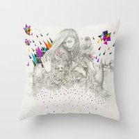 kris tate Throw Pillows featuring ECHOES by Peter Striffolino and Kris Tate by Peter Striffolino