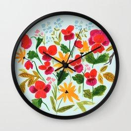 Pansies, Flowers, Happy, Sunshine, Sunflowers Wall Clock