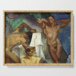 Young Bathers by George Pauli Nude Male Art Serving Tray