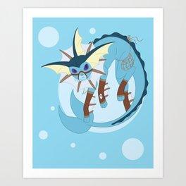 Water Steampunk Fox Art Print