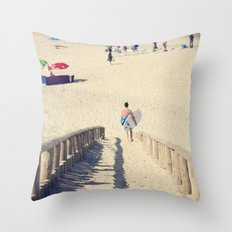 surfing Portugal Throw Pillow