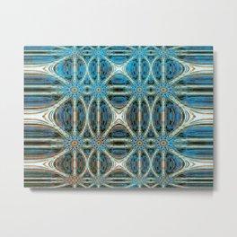 Turquoise Weave Metal Print