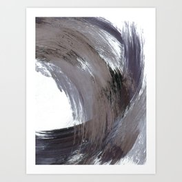 Navy Blue and Grey Minimalist Abstract Brushstroke Painting Art Print
