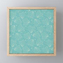 Underwater world turquoise pattern Framed Mini Art Print