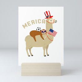 4th of July Soccer Player Gift Sloth Riding Llama Celebrating Amercia Independence Day Gift Mini Art Print