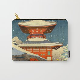 Asano Takeji Japanese Woodblock Print Vintage Mid Century Art Winter Red Shinto Shrine Snow Pagoda Carry-All Pouch
