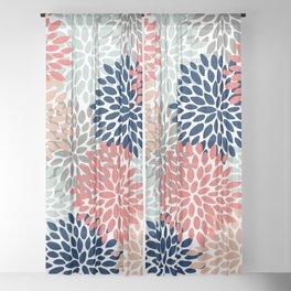 Floral Bloom Print, Living Coral, Pale Aqua Blue, Gray, Navy Sheer Curtain