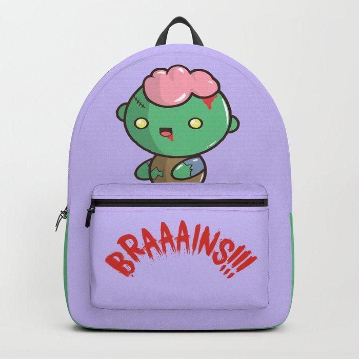 Zombie Kawaii Braaains Brains Halloween Backpack By Steelartstudios