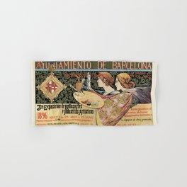 Vintage Art Nouveau expo Barcelona 1896 Hand & Bath Towel