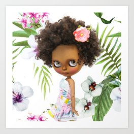 TROPICAL SUMMER ERREGIRODOLLS PINK NIPPY Art Print
