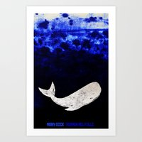 moby dick Art Prints featuring Moby Dick by Prelude Posters