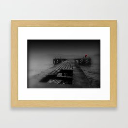 Lady with Red Umbrella on Old Scottish Pier  Framed Art Print