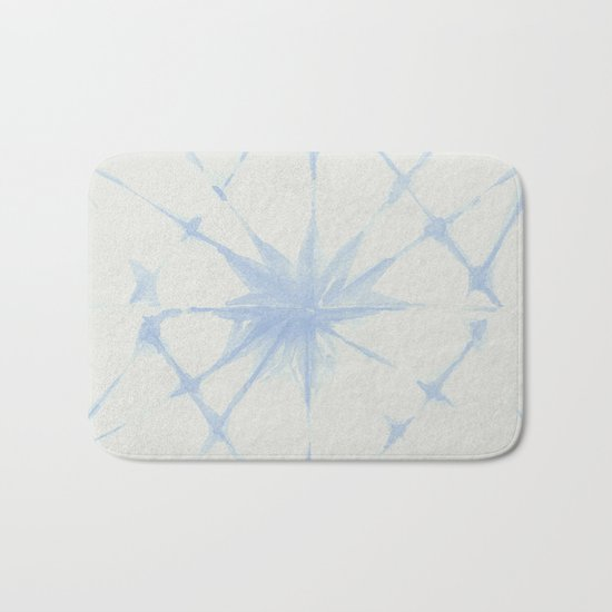 Shibori Starburst Sky Blue on Lunar Gray Bath Mat