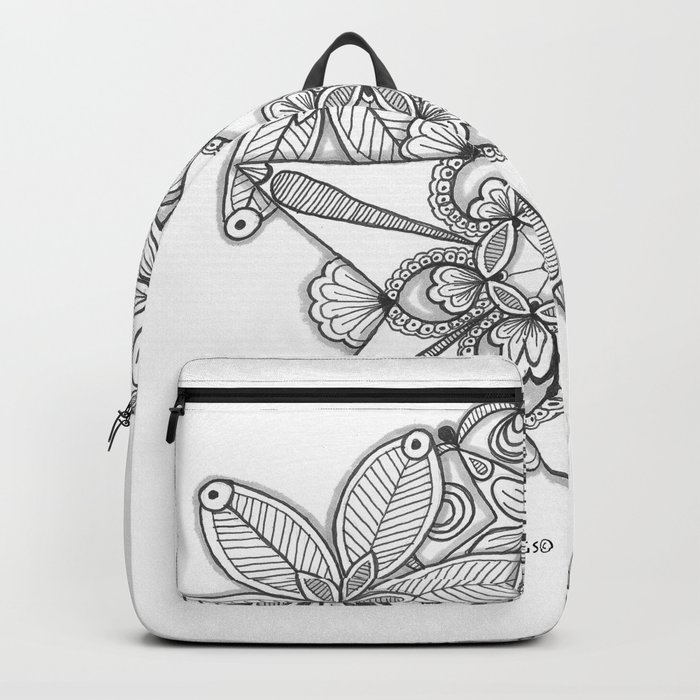 Vermont Zentangle Snow Flakes Illustration Backpack