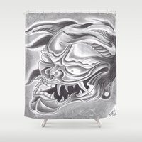 demon Shower Curtains featuring Demon by Tuff Luck Les