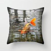 koi fish Throw Pillows featuring Koi Fish by Aldari Photo