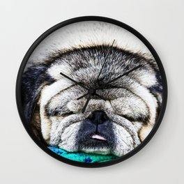 Tuckered Out Pug Wall Clock
