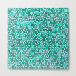 Faux Stone Mosaic in Lighter Turquoise Metal Print