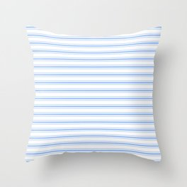 Mattress Ticking Wide Striped Pattern in Pale Blue and White Throw Pillow