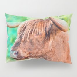 Highland cow watercolor painting #11 Pillow Sham