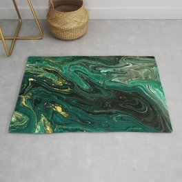 Abstract Pour Painting Liquid Marble Dark Green Teal Painting Gold Accent Rug