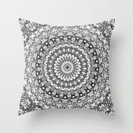 Shades of grey mosaic mandala Throw Pillow