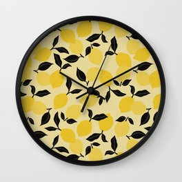 Seamless Citrus Pattern / Lemons Wall Clock