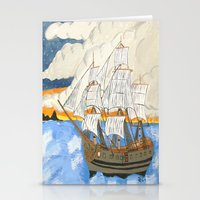 pirate ship Stationery Cards featuring Pirate Ship At Sea by J&C Creations