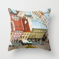 the rooftops of the city Throw Pillow