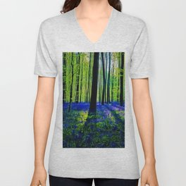 'Bluebells of the Rhode Island Spring' Landscape by Jeanpaul Ferro Unisex V-Neck
