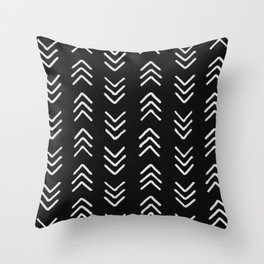 Charcoal & soft white brushed arrow heads, textured background Throw Pillow