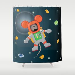 Space Mouse floating in space Shower Curtain