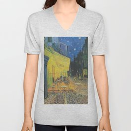 Cafe Terrace at Night by Vincent van Gogh Unisex V-Neck