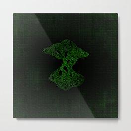 Yggdrasil Maze Neon Green Grunge Metal Print