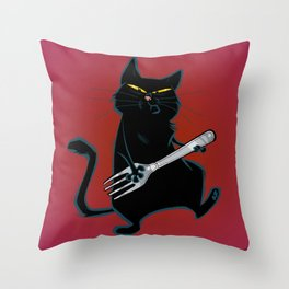 Cat with a fork Throw Pillow