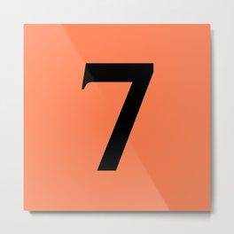 7 (BLACK & CORAL NUMBERS) Metal Print