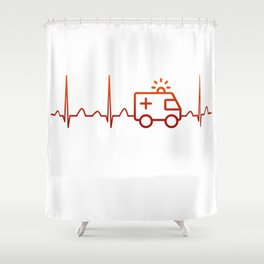 EMT Heartbeat Shower Curtain