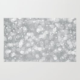 Silver glam bokeh glitter and sparkles Rug