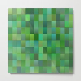 Green Mosaic Tile Pattern Metal Print